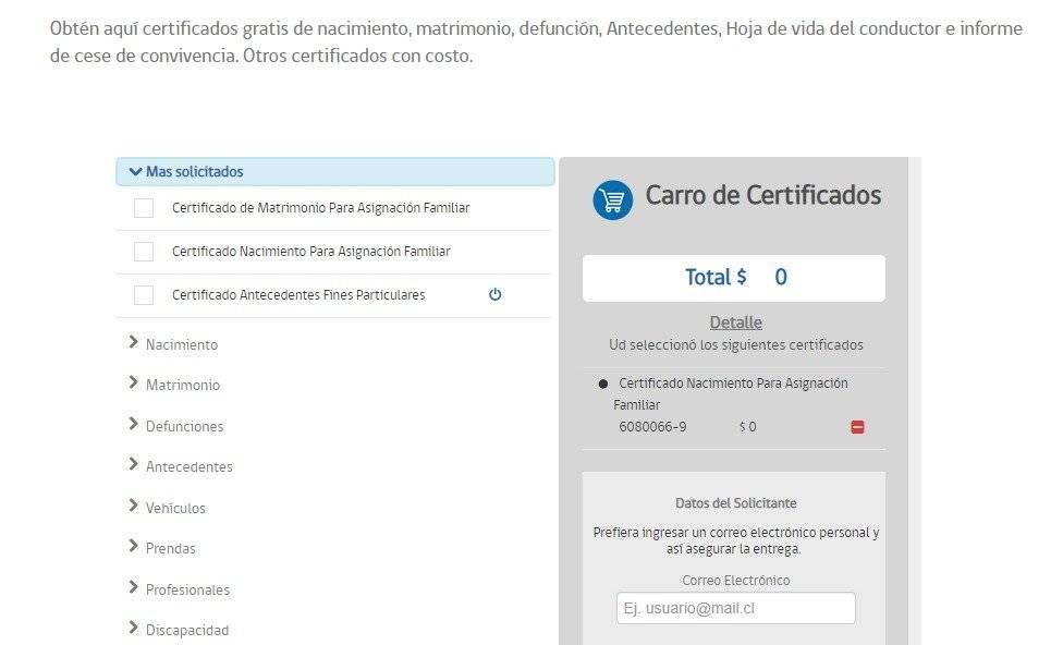 cómo obtener el certificado de nacimiento en chile