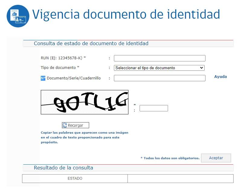 Vigencia del numero de documento