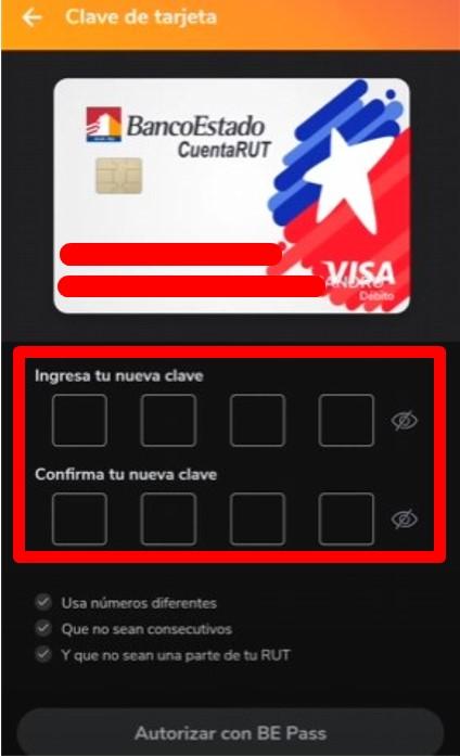 Crear clave de tarjeta para cajero automatico